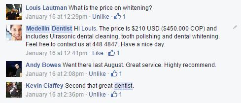 Testimonials Medellin dentist